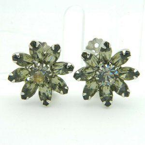 Weiss Gray Grey Glass Rhinestone Flower Earrings